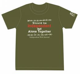 Tシャツ Should be Independent but Alone Together(カーキ)