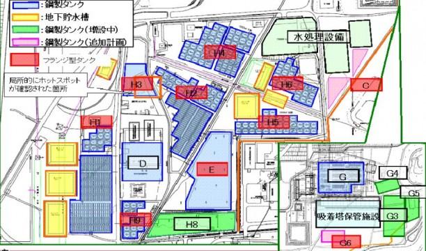 ▲東電提供「タンク周辺のエリア図」