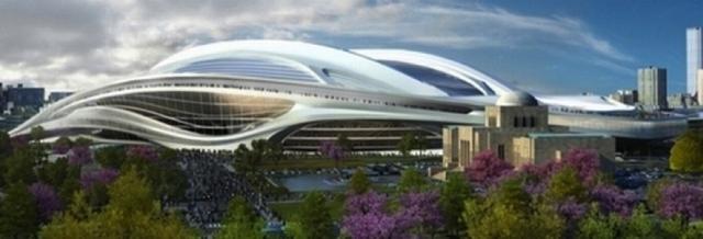 ▲図3 新国立競技場と絵画館(提供:日本スポーツ振興センター)