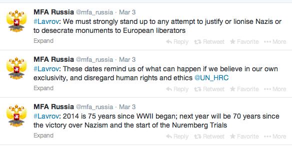 ▲ロシア外務省はTwitterで、ラブロフ外相の国連人権委員会における発言を発表した(3月3日)