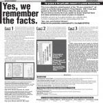▲「スターレッジャー」紙2012年11月4日付に掲載された意見広告「Yes, we remember the facts」。