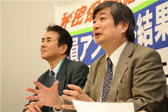 ▲「施行延期法案」を提案する海渡弁護士(右)と前田能成氏(左)