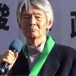 11月1日沖縄で翁長候補の応援演説をする菅原文太氏