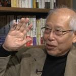 ▲岩上安身のインタビューに応える板垣雄三・東京大学名誉教授