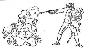 『時事新報』の1894年8月8付け紙面に掲載されたイラスト