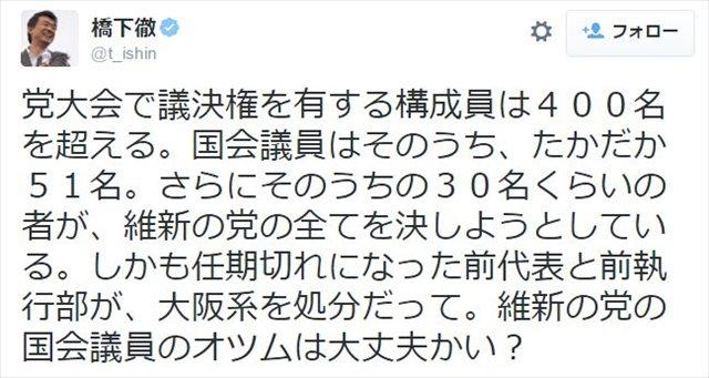 ▲10月15日付けの橋下徹氏のツイート