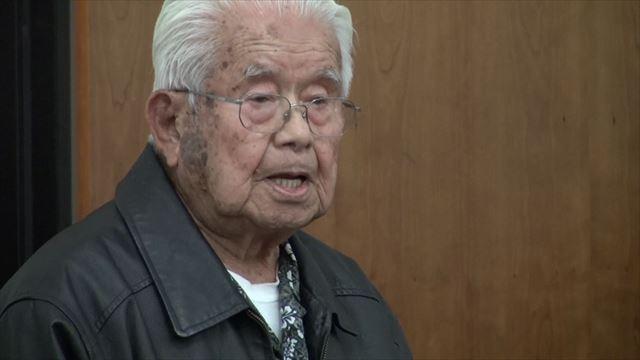 ▲沖縄戦に通訳として参加した、沖縄出身日系二世、フランク東氏。