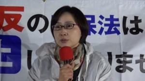 ▲街宣で話す学習院大学法科大学院・青井未帆教授