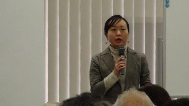 ▲吉田明子氏(国際環境NGO FoE Japan/パワーシフトキャンペーン運営委員会事務局)