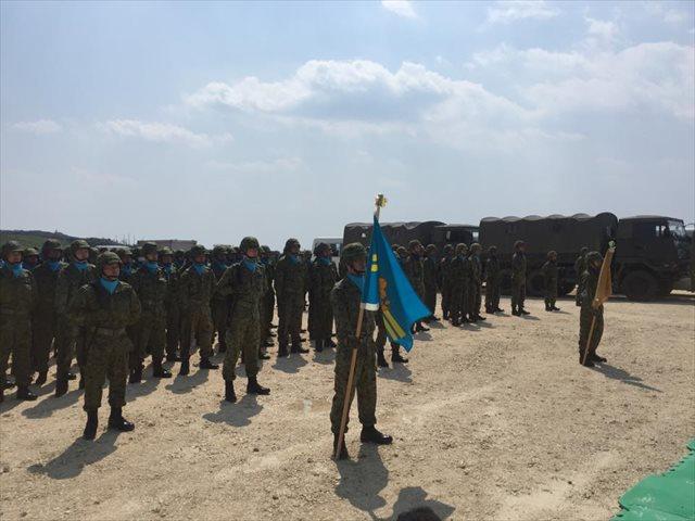 ▲与那国沿岸監視隊・隊旗授与式(2016年3月28日)