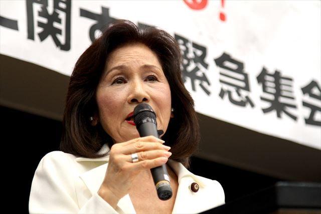▲講演する糸数慶子参議院議員