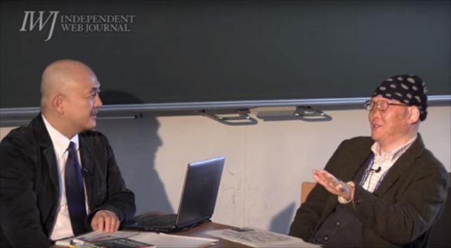 ▲岩上安身のインタビューに答える上脇博之教授