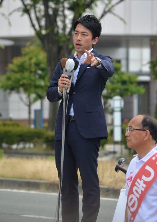 ▲山形入りした小泉進次郎氏(6月22日)