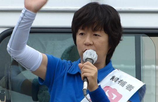 ▲街頭演説する舟山康江候補