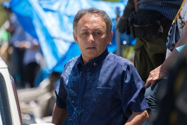 ▲PM13:10 沖縄県選出の衆議院議員玉城デニー氏が現れた。機動隊の封鎖により、2時間足止めさせられていたという
