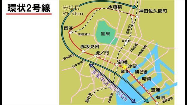 ▲環状2号線(赤線)の完成予定図。白点線(新橋―豊洲)は未完成を示す(※虎ノ門―新橋は2014年3月に完成)。