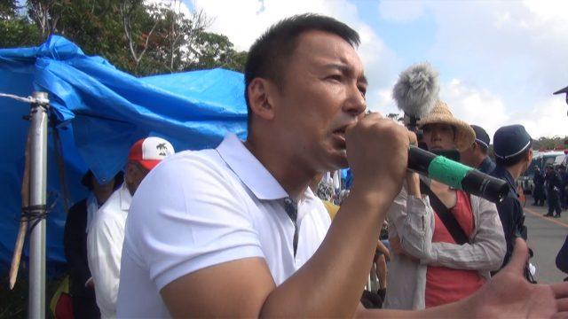 ▲沖縄・高江でスピーチする山本太郎参議院議員