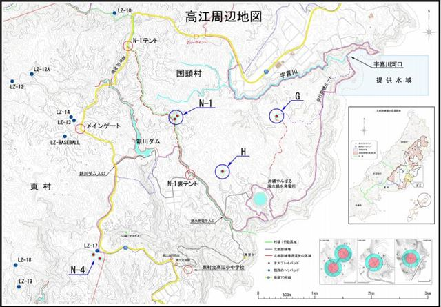 ▲奥間さん提供の高江周辺地図。青い円で囲まれた「N-1」「H」「G」地区に、合計4つのオスプレイパッドが作られようとしている。