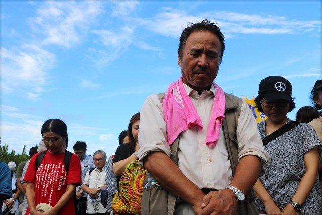 ▲広島に原爆が投下された8月6日8時15分に合わせ、高江でも黙祷が捧げられた。「本当は広島に行かなければならないが、今年は高江のことがあり、残念ながら行けない」と山城博治氏