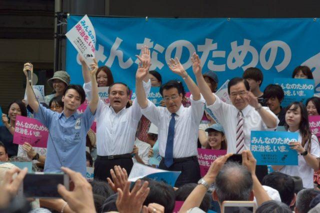 ▲「市民連合」と野党党首による合同街宣――6月19日、有楽町イトシア前