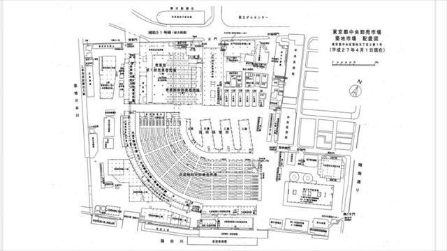 ▲築地市場の場内配置図