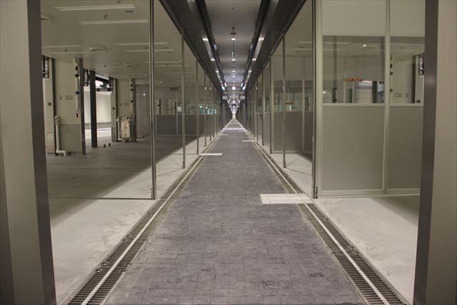 ▲(上下)豊洲新市場の仲卸売場――売り場の狭さが目立つ