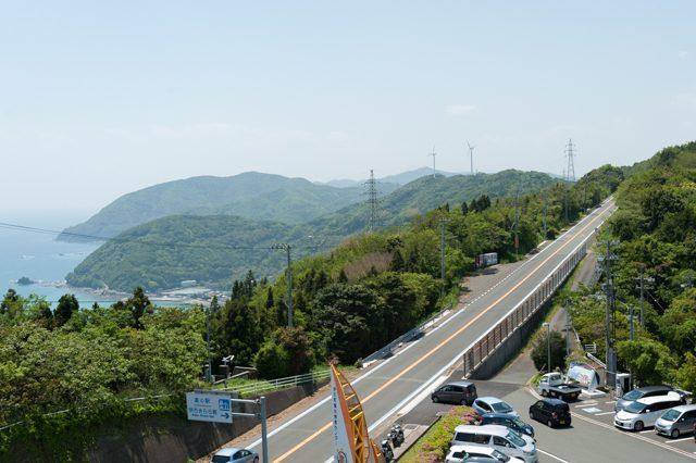 ▲三崎港と八幡浜市を結んで佐多岬半島を貫く頂上線。三崎港から伊方原発までは30分ほど