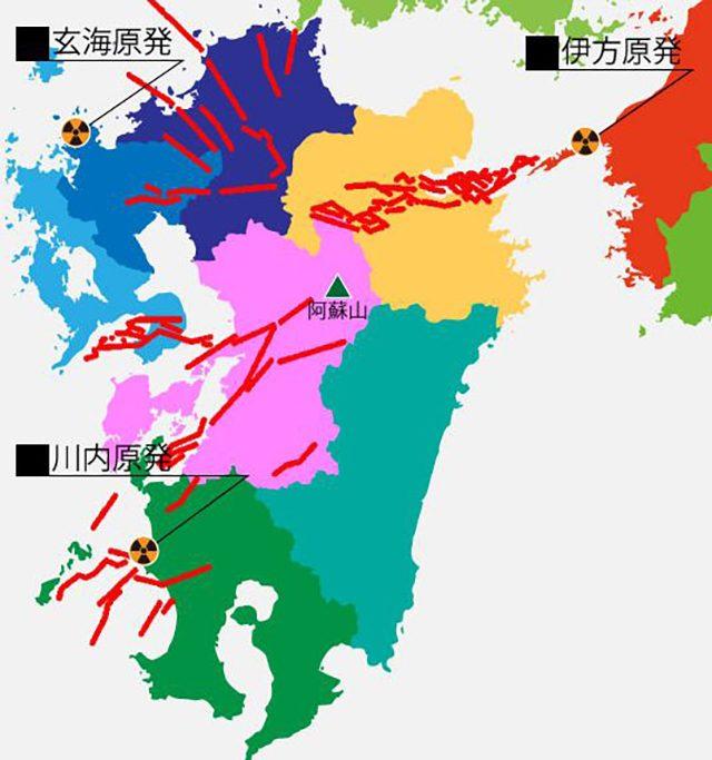 ▲九州の断層と原発の位置
