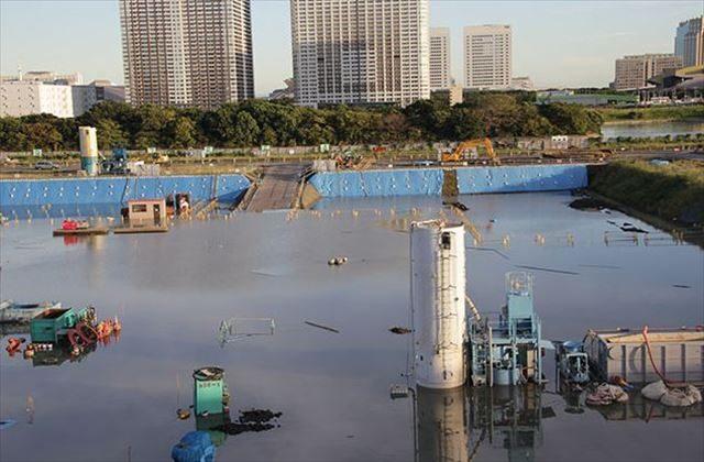 ▲2014年の台風18号によって冠水した豊洲新市場用地