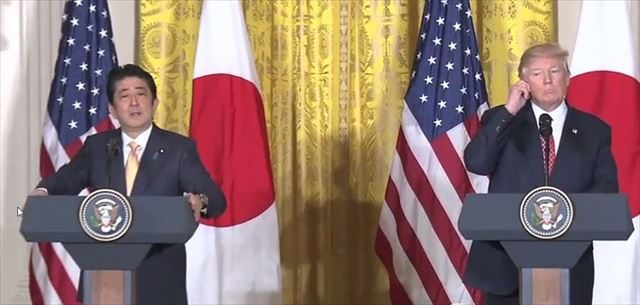 ▲日米協同記者会見での安倍総理とトランプ大統領(首相官邸HPより)。
