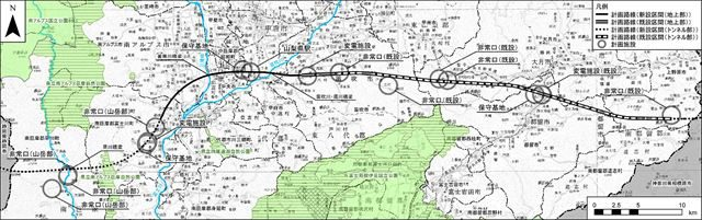 ▲山梨県内のリニア実験線と中央新幹線予定ルート(JR東海ホームページより)