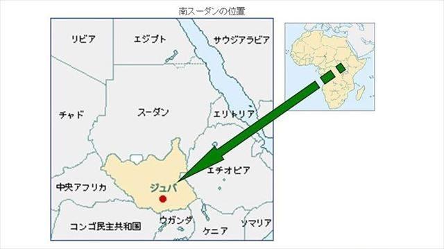 ▲薄黄色に塗られたのが南スーダン(拡大図)