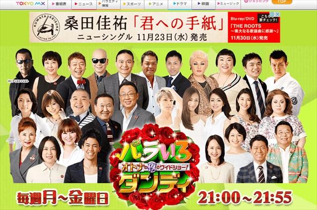 ▲長谷川豊氏を続投させる東京MXテレビ制作の『バラいろダンディ』