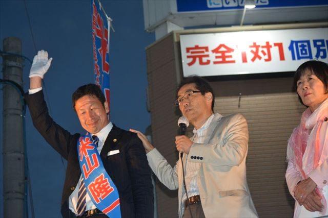 ▲米山候補の応援演説を行う古賀茂明氏