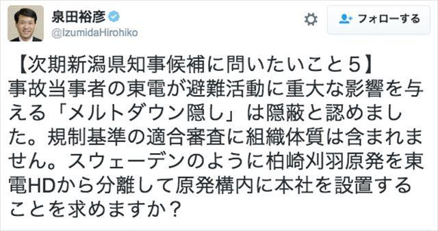 ▲泉田知事から新潟県知事候補者への質問5(2016年10月10日のツイート)