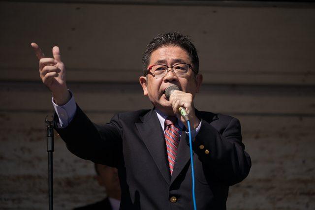 ▲「白紙領収書疑惑」を追及した日本共産党・小池晃議員