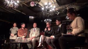 ▲(左2番目から)三宅洋平氏、山田正彦元農水相、ジェーン・ケルシー教授