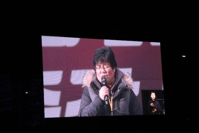 ▲セウォル号沈没事故で犠牲となった高校生の母親が登壇。