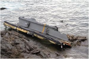 ▲海に残るオスプレイの残骸。