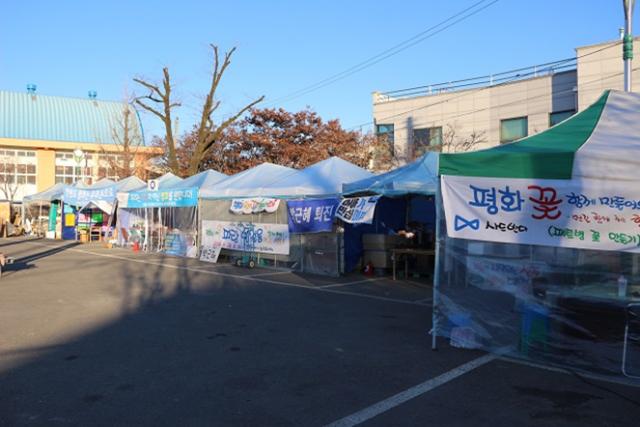 ▲インタビューは、THAAD配備予定地とされる慶尚北道・星州郡で、地元住民が設営した抗議テント内で行われた。