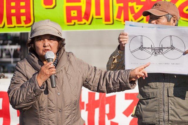 ▲横田基地の撤去を求める西多摩の会・高橋美枝子さん