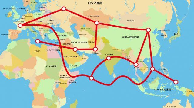 ▲中国の習近平国家主席が提唱する「一帯一路」構想