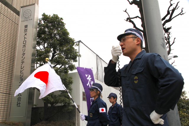 ▲TOKYO MX「ニュース女子」の放送内容に抗議する花瑛塾のメンバー