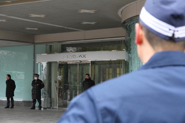 ▲TOKYO MX正面玄関には数名の警備員が待機