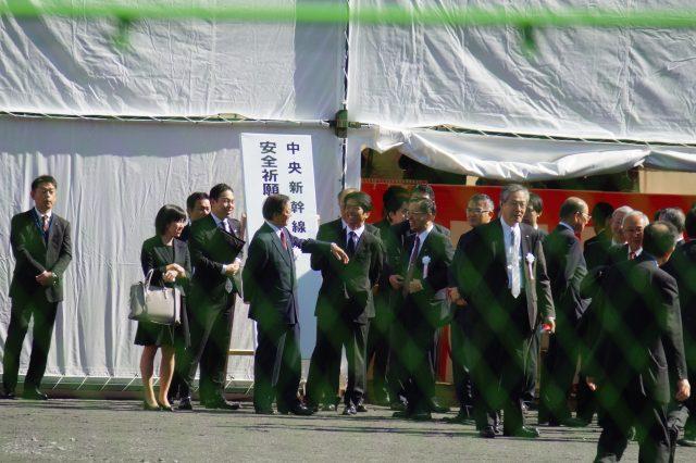 ▲2016年11月1日。長野県大鹿村での起工式会場。住民にはその会場がどこかも伝えられていなかった。