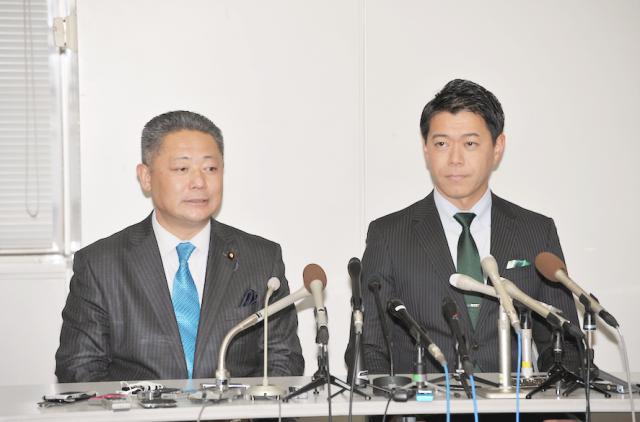 ▲維新・馬場伸幸幹事長(左)と長谷川豊氏(右)——2月6日、千葉県庁記者クラブ