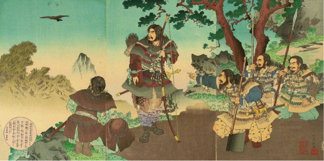 ▲ヤタガラスに導かれる神武天皇(出典・Wikipedia)