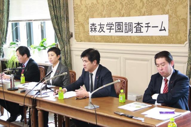 ▲(左から)川合孝典議員、辻元清美議員、今井雅人議員、福島伸享議員